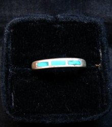 Skinny Vintage Native American Turquoise Inlay Ring sz8