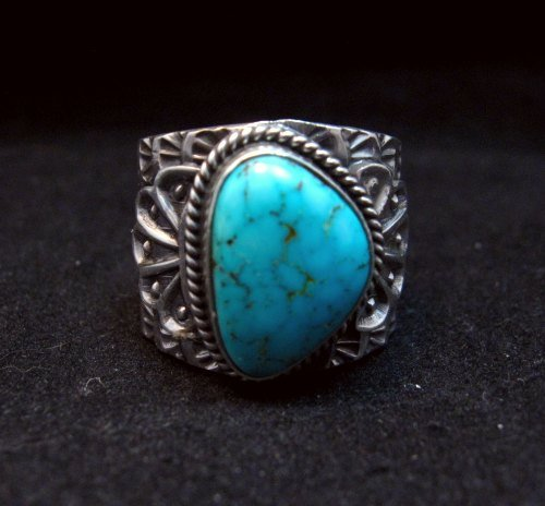 Image 0 of Wide Navajo Native American Sunshine Reeves Turquoise Ring sz8-3/4