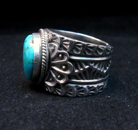 Image 2 of Wide Navajo Native American Sunshine Reeves Turquoise Ring sz8-3/4