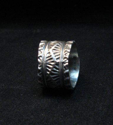 Image 3 of Wide Navajo Native American Sunshine Reeves Turquoise Ring sz8-3/4