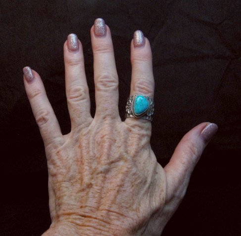 Image 4 of Wide Navajo Native American Sunshine Reeves Turquoise Ring sz8-3/4