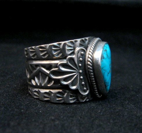 Image 1 of Navajo Native American Sunshine Reeves Kingman Turquoise Silver Ring sz10