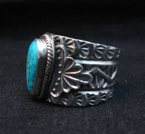 Image 2 of Navajo Native American Sunshine Reeves Kingman Turquoise Silver Ring sz10