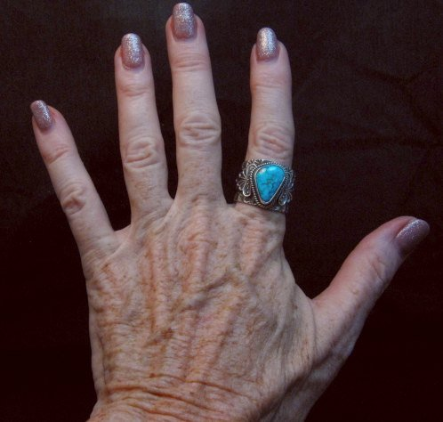 Image 3 of Navajo Native American Sunshine Reeves Kingman Turquoise Silver Ring sz10