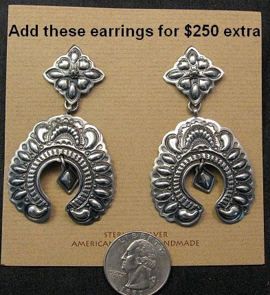 Image 10 of Darryl Becenti Navajo Native American Silver Squash Blossom Necklace Set