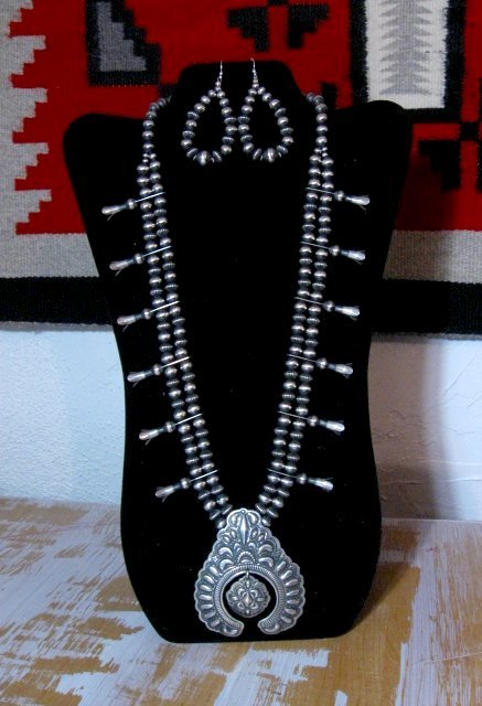 Image 3 of Darryl Becenti Navajo Native American Silver Squash Blossom Necklace Set