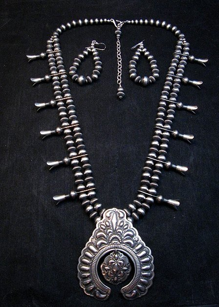 Image 0 of Darryl Becenti Navajo Native American Silver Squash Blossom Necklace Set