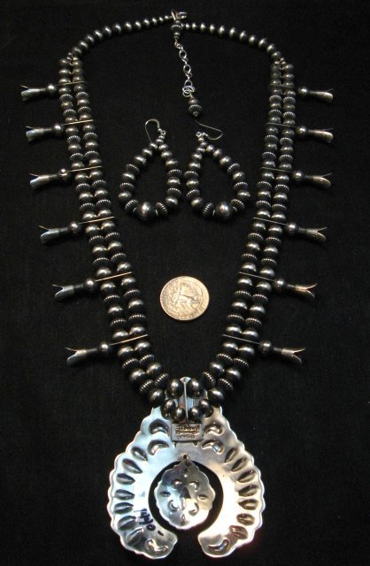 Image 4 of Darryl Becenti Navajo Native American Silver Squash Blossom Necklace Set