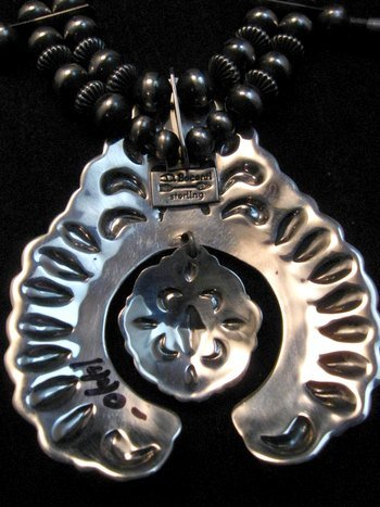 Image 5 of Darryl Becenti Navajo Native American Silver Squash Blossom Necklace Set