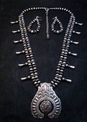 Darryl Becenti Navajo Native American Silver Squash Blossom Necklace Set