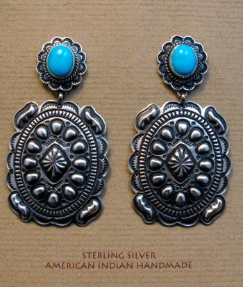 Image 0 of Big Navajo Turquoise Silver Concho Style Earrings, Tsosie White