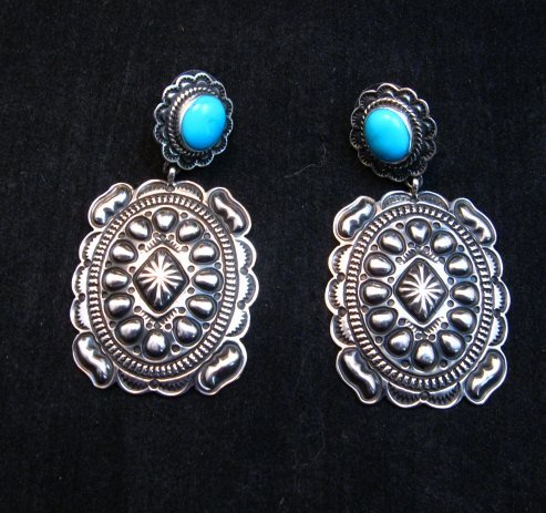 Image 1 of Big Navajo Turquoise Silver Concho Style Earrings, Tsosie White
