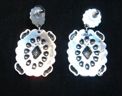 Image 2 of Big Navajo Turquoise Silver Concho Style Earrings, Tsosie White