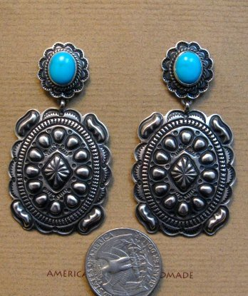 Image 3 of Big Navajo Turquoise Silver Concho Style Earrings, Tsosie White