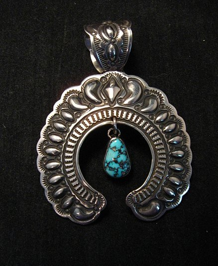 Image 1 of Large Navajo Native American Turquoise Silver Naja Pendant, Darryl Becenti