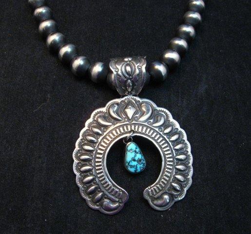 Image 0 of Large Navajo Native American Turquoise Silver Naja Pendant, Darryl Becenti