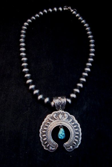 Image 4 of Large Navajo Native American Turquoise Silver Naja Pendant, Darryl Becenti