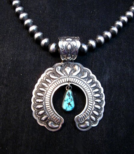 Image 0 of Navajo Native American Turquoise Silver Naja Unisex Pendant, Darryl Becenti