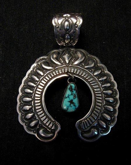 Image 5 of Navajo Native American Turquoise Silver Naja Unisex Pendant, Darryl Becenti