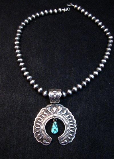 Image 3 of Navajo Native American Turquoise Silver Naja Unisex Pendant, Darryl Becenti
