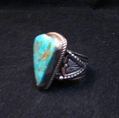 Image 2 of Albert Jake Navajo Native American Turquoise Ring Sz9-1/2 to sz11 adjustable