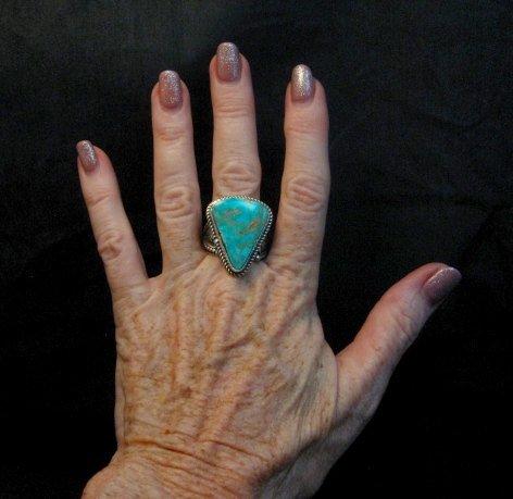 Image 4 of Albert Jake Navajo Native American Turquoise Ring Sz9-1/2 to sz11 adjustable