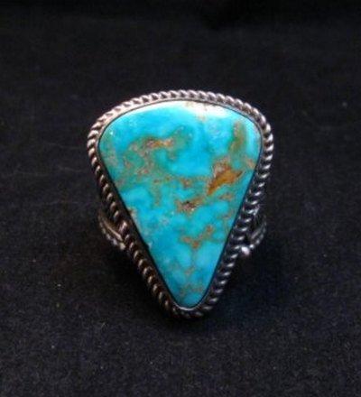 Image 0 of Albert Jake Navajo Native American Turquoise Ring Sz9-1/2 to sz11 adjustable