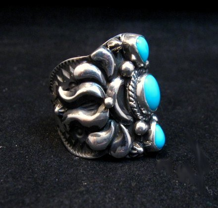Image 1 of Darryl Becenti Navajo 3-stone Turquoise Silver Ring sz10-1/2