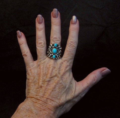 Image 4 of Darryl Becenti Navajo 3-stone Turquoise Silver Ring sz10-1/2