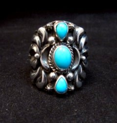 Darryl Becenti Navajo 3-stone Turquoise Silver Ring sz10-1/2