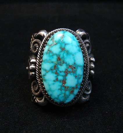 Image 0 of Wide Navajo Kingman Birdseye Turquoise Silver Ring Sz11, Delbert Gordon
