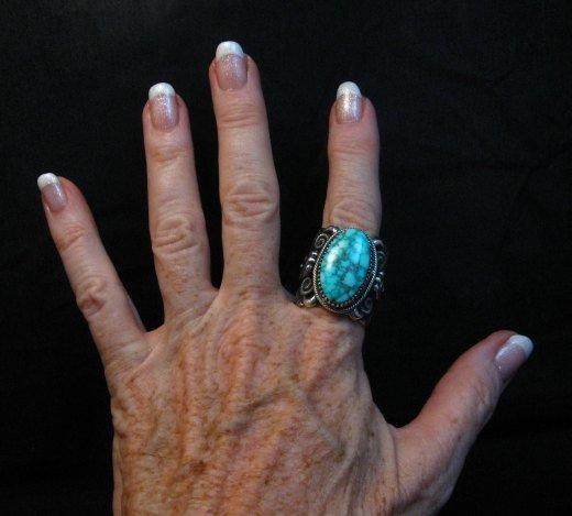 Image 5 of Wide Navajo Kingman Birdseye Turquoise Silver Ring Sz11, Delbert Gordon