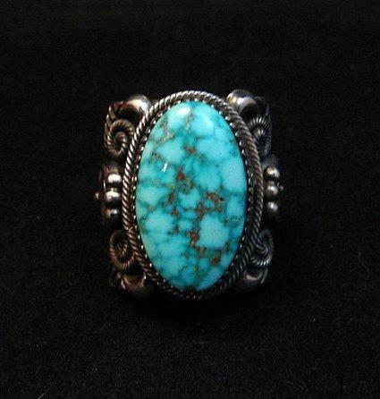 Image 6 of Wide Navajo Kingman Birdseye Turquoise Silver Ring Sz11, Delbert Gordon
