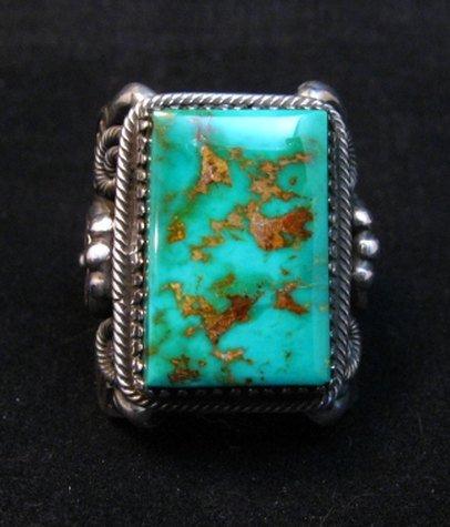Image 0 of Navajo Native American Royston Turquoise Silver Ring Sz10-1/2, Delbert Gordon