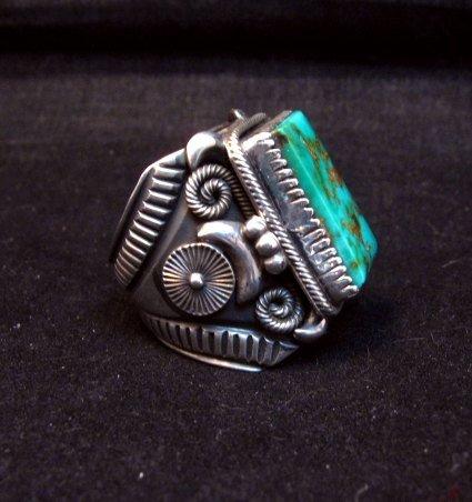 Image 1 of Navajo Native American Royston Turquoise Silver Ring Sz10-1/2, Delbert Gordon