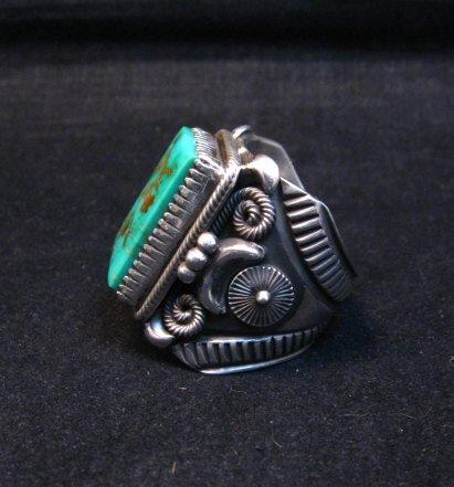 Image 4 of Navajo Native American Royston Turquoise Silver Ring Sz10-1/2, Delbert Gordon