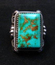 Navajo Native American Royston Turquoise Silver Ring Sz10-1/2, Delbert Gordon