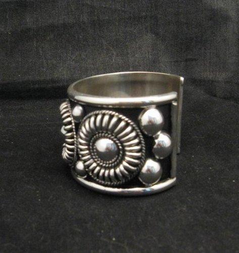 Image 3 of Native American Navajo Thomas Charley Silver Concho Bracelet