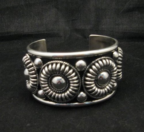 Image 0 of Native American Navajo Thomas Charley Silver Concho Bracelet