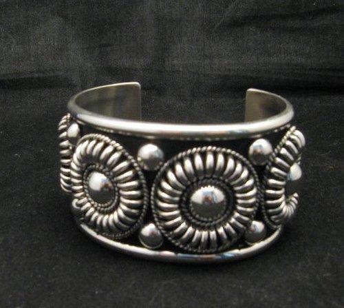Image 1 of Native American Navajo Thomas Charley Silver Concho Bracelet