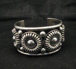 Native American Navajo Thomas Charley Silver Concho Bracelet