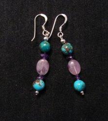 Navajo Turquoise Mixed Bead Earrings, Everett & Mary Teller