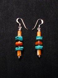 Navajo Turquoise Spiny Oyster Bead Earrings, Everett & Mary Teller