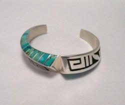 Lonn Parker Navajo Turquoise Inlay Silver Twist Bracelet Native American