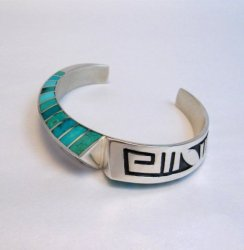 Lonn Parker Navajo Turquoise Inlay Silver Twist Bracelet Native American