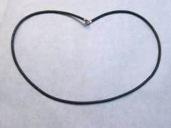 Black Cord Necklace with Sterling silver clasp - 16 inch long