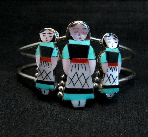 Image 0 of Zuni Indian Three Maiden MultiInlay Silver Bracelet By Joyce Waseta