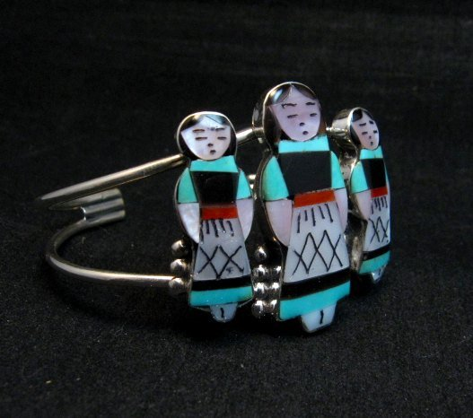 Image 1 of Zuni Indian Three Maiden MultiInlay Silver Bracelet By Joyce Waseta