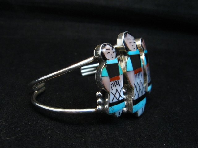 Image 3 of Zuni Indian Multi Maiden Inlay Silver Bracelet By Joyce Waseta