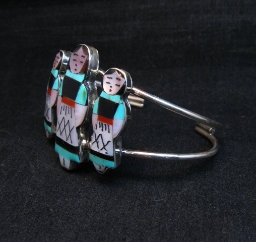 Image 2 of Zuni Indian Three Maiden MultiInlay Silver Bracelet By Joyce Waseta